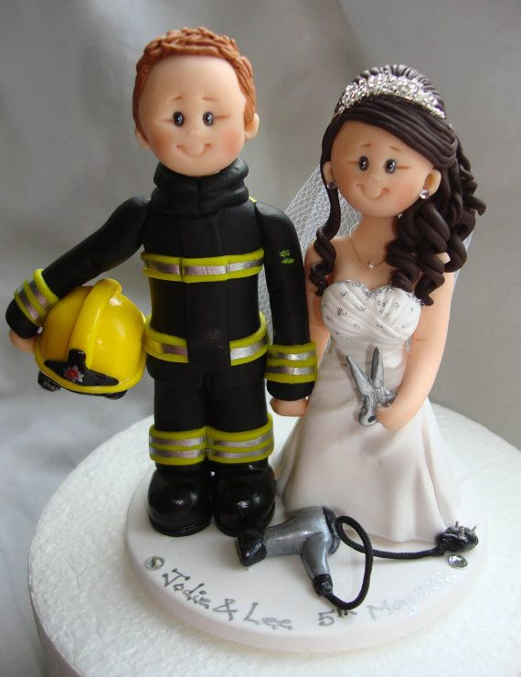 Bombero y estilista pastel de bodas topper por ALittleRelic en Etsy Más