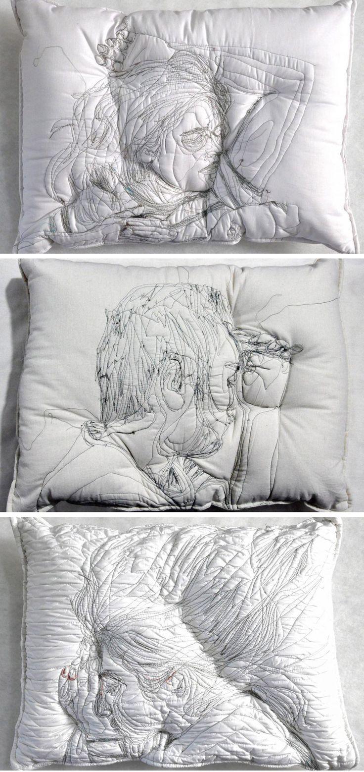 Sleeping People Embroidered Onto Handmade Pillows by Maryam Ashkanian