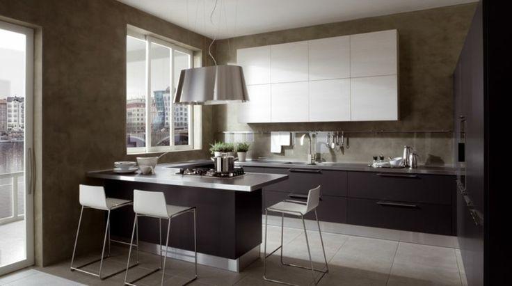 muebles de color marrón oscuro en la cocina moderna