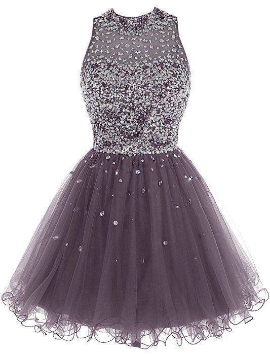Bbonlinedress Short Tulle Beading Homecoming Dress Prom Gown Grey 4