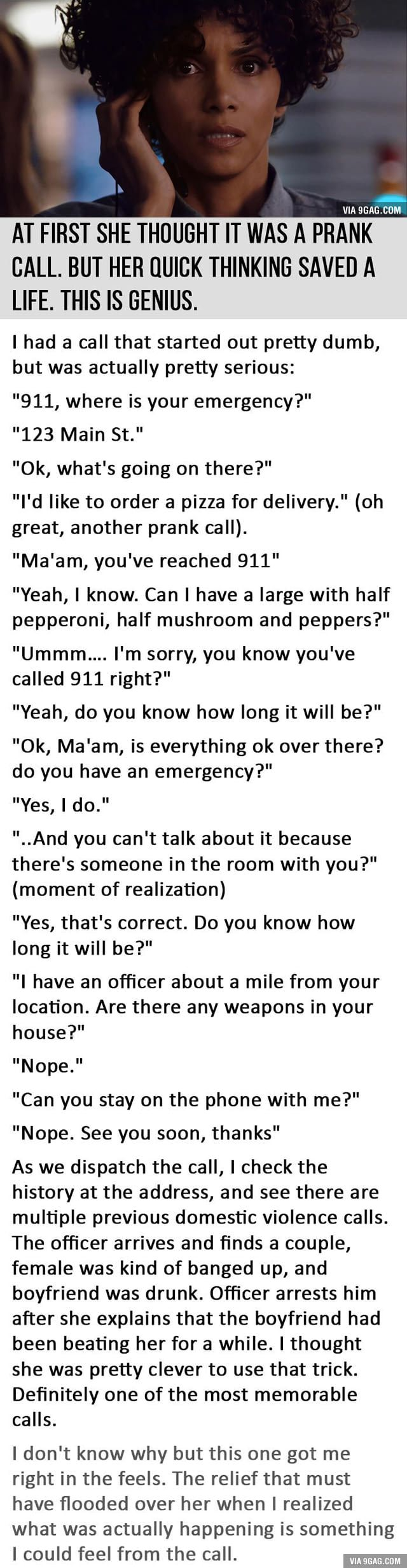At First She Thought It Was A Prank Call. But Her Quick Thinking Saved A Life. This is Genius.