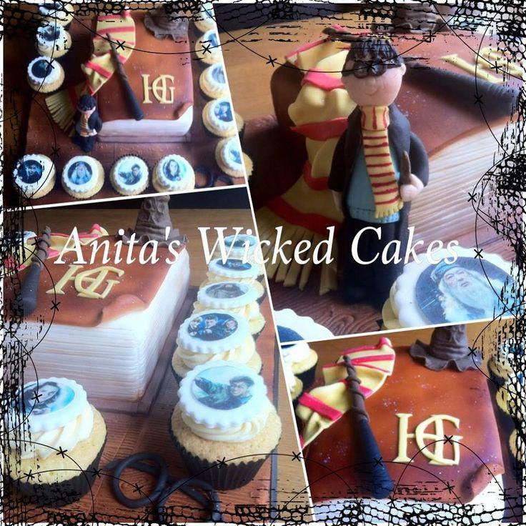 https://flic.kr/p/zGRDvu | Harry Potter book shaped cake & cupcakes | Corporate cake Harry Potter book shaped cake & cupcakes