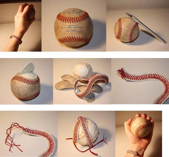 Bracelet made out of baseball stitching