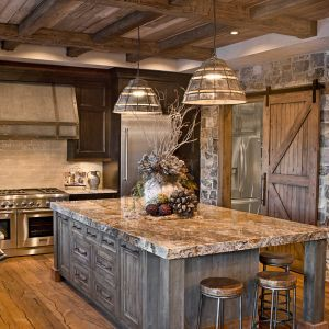 Oversized Island; Custom Cabinetry; Kitchen Cabinets; Distressed; Rustic;  Glazed; Knotty