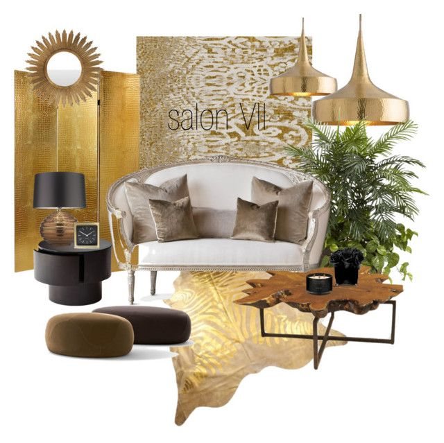 salon VII by a-filipczak on Polyvore featuring interior, interiors, interior design, dom, home decor, interior decorating, Interlude, Arteriors, Zoffany and Surya