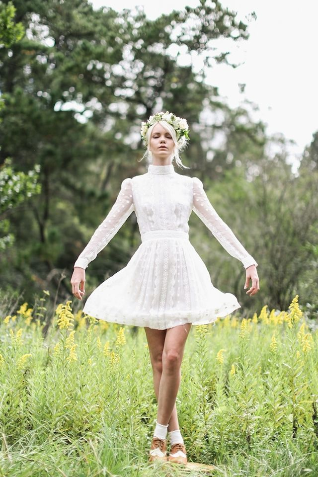 Short white wedding dress | Lara Hotz Photography for Hooray Magazine with styling by Stefanie Ingram, beauty by Liv Lundelius Makeup Artist and floral design by Jardine Botanic Floral Styling | see more on: http://burnettsboards.com/2014/07/ophelia-enchanting-fashion-boudoir-editorial/