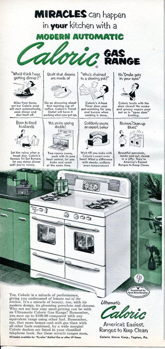 1952 Caloric Gas Range Ad   1950s Kitchen Appliances Retro