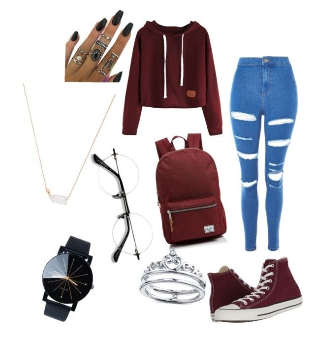 """""""Maroon Converse Outfit"""" by tae1997 on Polyvore featuring Converse, Topshop, Herschel Supply Co., Unwritten, Kendra Scott and EyeBuyDirect.com"""