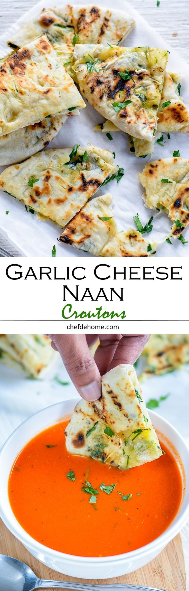 "Forget grilled cheese croutons! Try ""Pan Grilled Garlic Cheese Naan Croutons"", a new cheesy bread to soak into your favorite soup!"