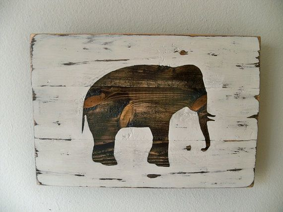 Heavily Distressed Elephant Wood Wall Hanging i feel like i could make this with all my used planks...