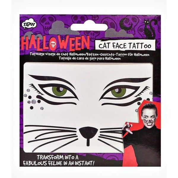 Boohoo Halloween Cat Face Temporary Tattoo ($5) ❤ liked on Polyvore featuring black
