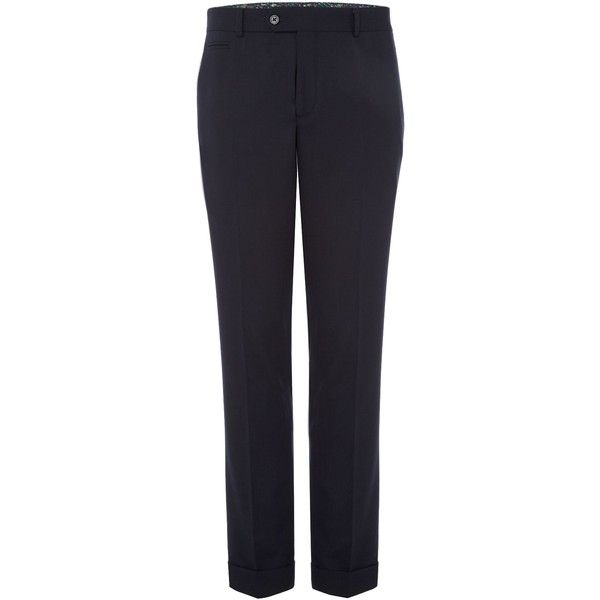 Simon Carter Hopsack Trouser ($100) ❤ liked on Polyvore featuring men's fashion, men's clothing, men's pants, men's casual pants, sale men trousers, mens navy blue pants, mens slim pants, mens wool pants, mens pants and mens lined pants