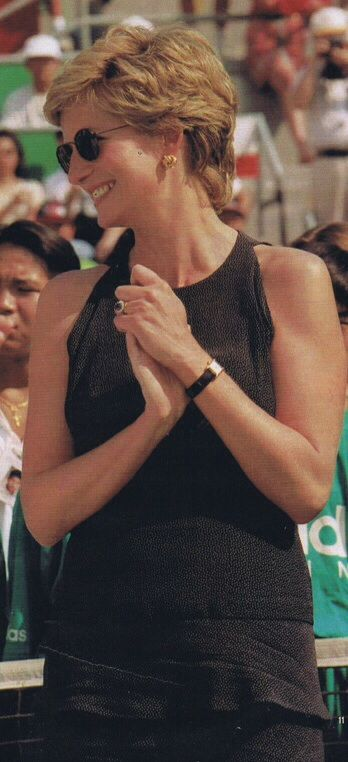 April 23, 1995: Diana, Princess of Wales at the Salem Tennis Final in Hong Kong.