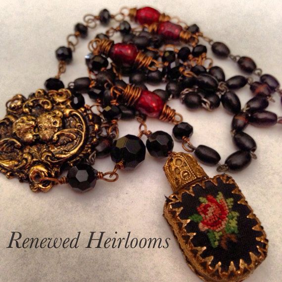 Red Rose Petite Pointe Perfume Rosary Vintage by renewedheirlooms