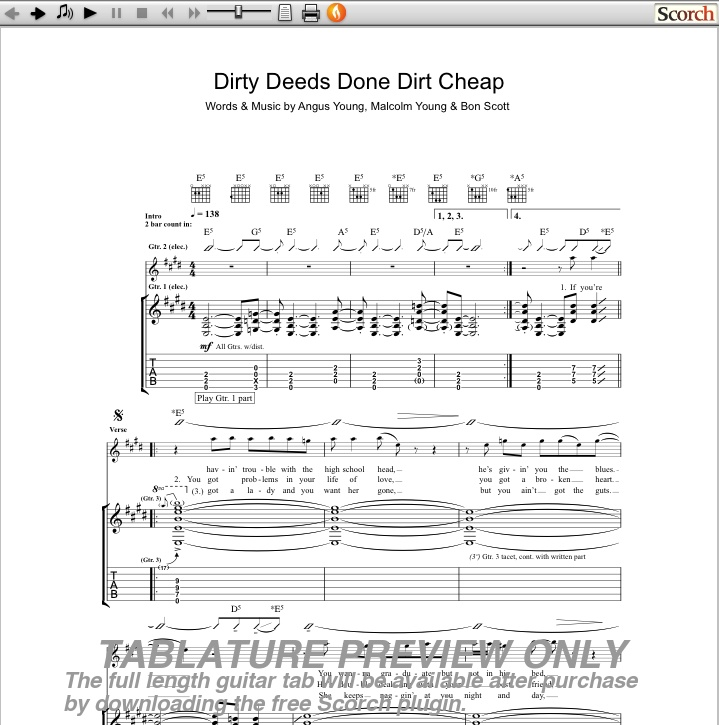 Dirty Deeds Done Dirt Cheap Guitar Tab Preview Image