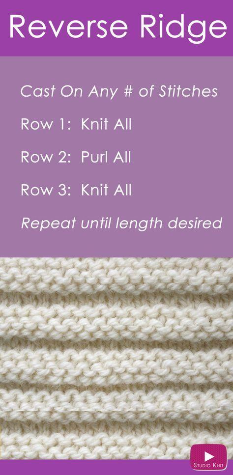 Aprenda a tricotar o padrão de ponto REVERSE RIDGE com tutorial de vídeo gratuito ...