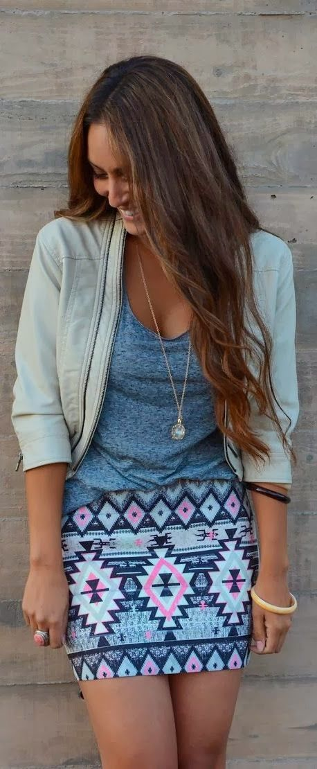Gorgeous aztec mini skirt, grey top and jacket