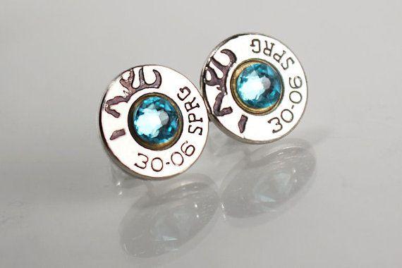 Stud Bullet Earrings - Deer Earrings - Trendy Earrings - Gifts for Her - Rifle Jewelry - Country Jewelry - Custom Earrings - Silver Studs