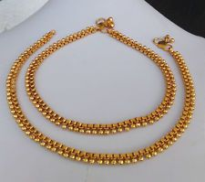 ANKLET BRACELET 22k GOLDPLATED PAYAL SET BOLLYWOOD Fashion SOUTH INDIAN JEWELRY