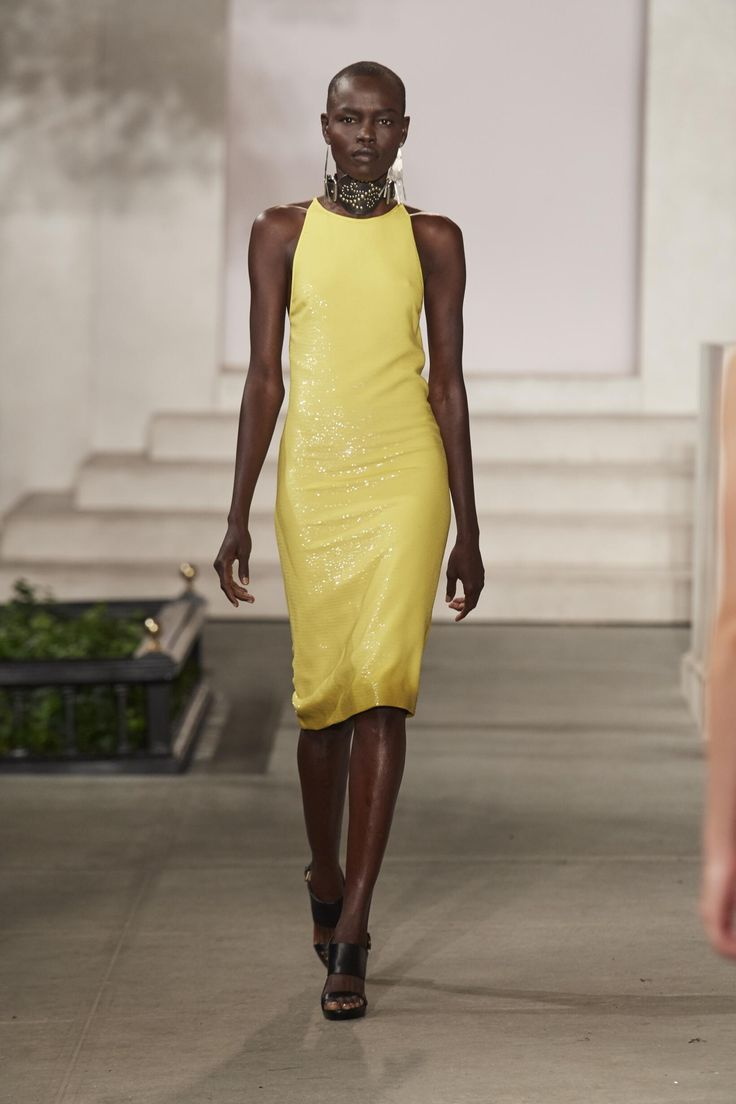 Woodpecker yellow backless dress