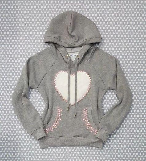 1d044759ed ... 4ed731d4e92 blusa moletom feminino cinza capuz bolso coração pêlo  pérola .