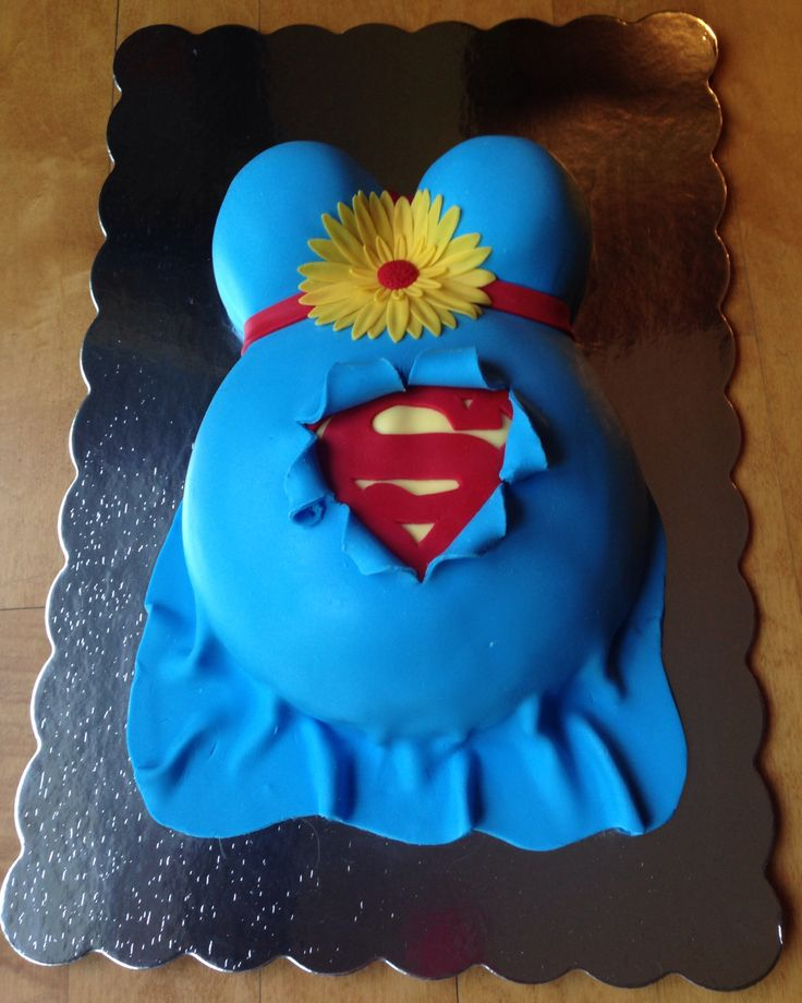 Superman Pregnant Belly Baby Shower Cake