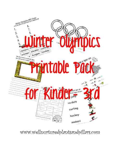 Free Winter Olympic Themed Printable Pack for K-3rd (plus link to free Preschool Pack and more on the blog) from Plants and Pillars