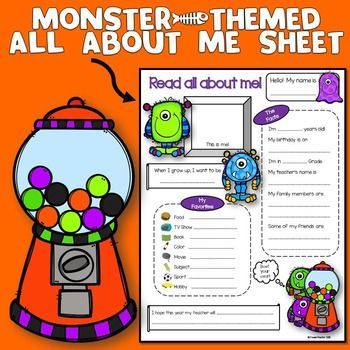 Monster Theme : Monster ThemeThis 'All About Me Sheet' is a monster-themed get-to-know-me sheet that can be handy during the first week of a new school year.  It will not only allow you to get to know your students better, it will also look great on your bulletin boards and can be used during back to school night.