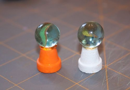 gazing ball: marble and upside down mini flower pot. tutorial #miniature