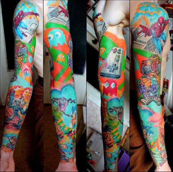 Nintendo new school tattoo sleeve by sasha elvis full for Tattoo school edmonton