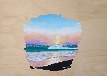 "Sunset Seascape on wood by Kurt Weismair Acrylic ~ 9"" x 12"""