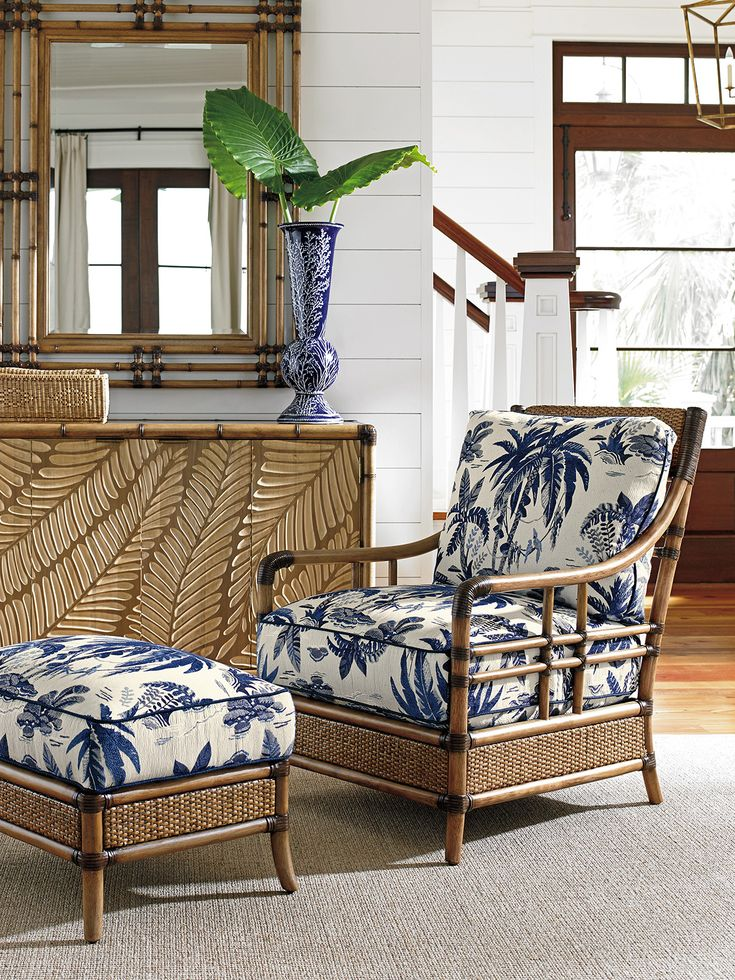 Navy and White Accent Chair #Customizable #TommyBahamaHome