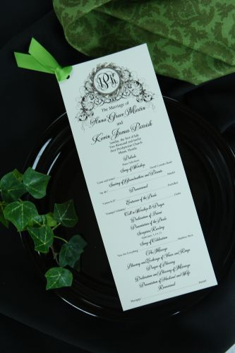 do as a one page program dressed up with a little ribbon wedding