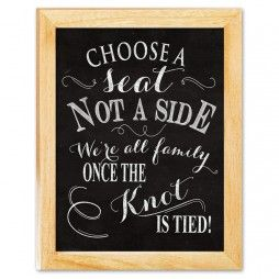 Choose A Seat Not A Side - Wedding Signage Chalkboard Art Canvas