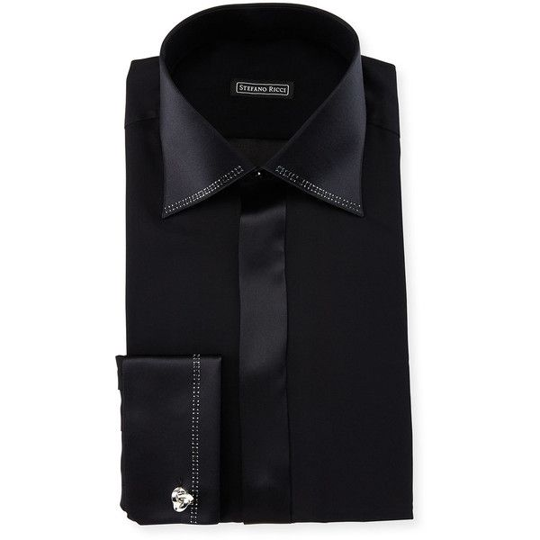 Stefano Ricci Crystal-Trim Silk French-Cuff Tuxedo Shirt ($1,215) ❤ liked on Polyvore featuring men's fashion, men's clothing, men's shirts, men's dress shirts, men, white, mens tux shirt, mens white tuxedo shirt, mens dress shirts and mens french cuff dress shirts