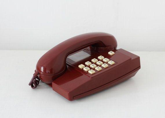 Retro 80s telephone maroon red British Telecom by KeepitRetro, £26.00