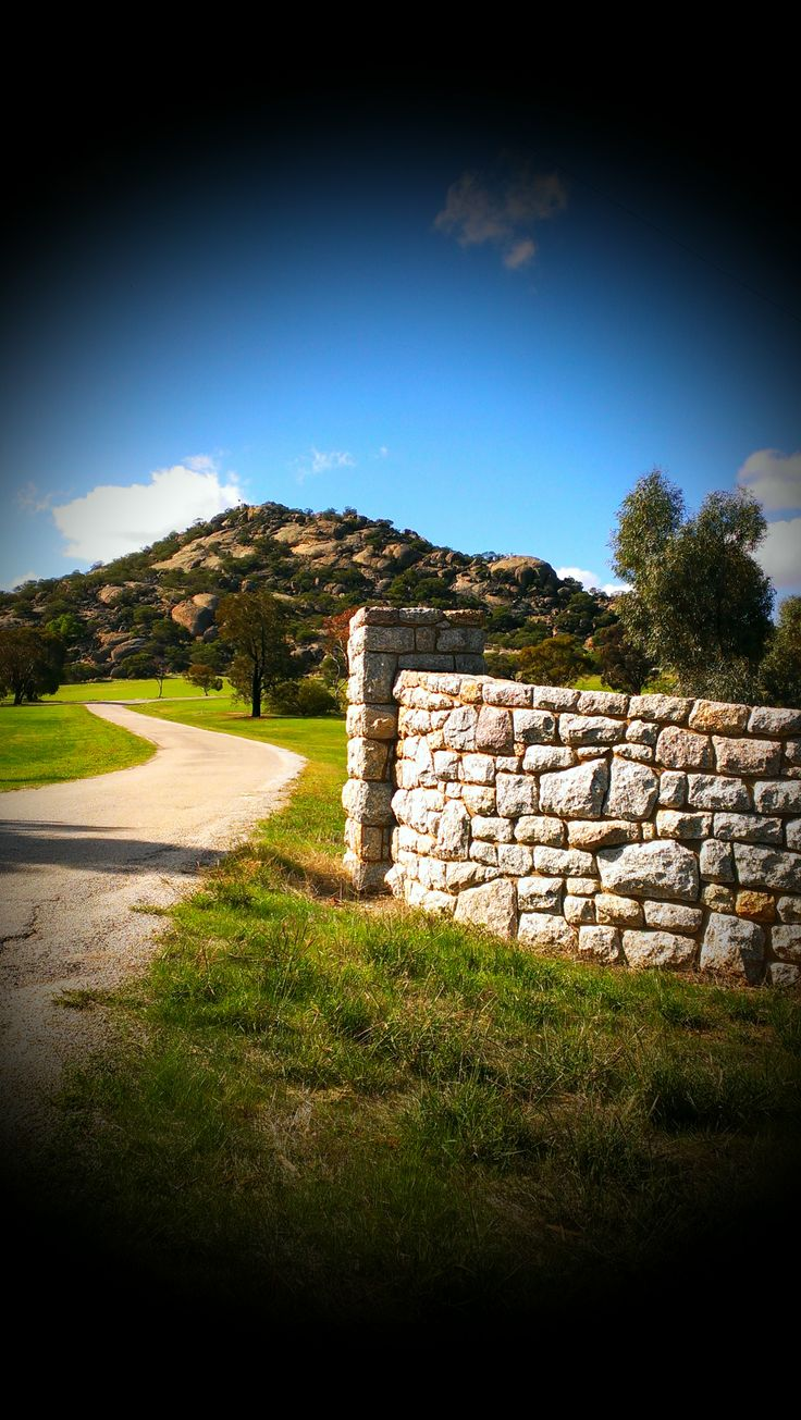 Stone wall made from Pyramid Hill Stone at Pyramid Hill  www.mawsons.com.au