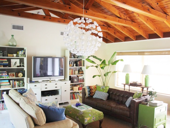 tall book cases on both sides of elevated t.v. furniture layout. styled shelves.: Living Rooms, Leather Couch, Exposed Beams, Expo Beams, Dreams, Color, Rooms Tours, Little Green Notebooks, Awesome Rooms
