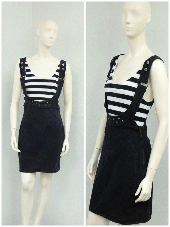 Vintage 80s Black Denim Jumper Dress Skirt by SprightlyVogue
