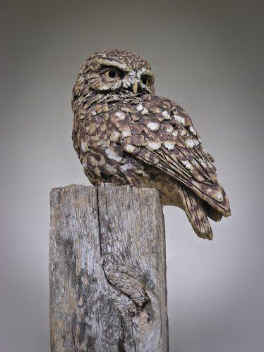 Little Owl, Simon Griffiths. Stoneware sculptures