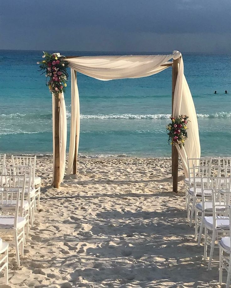 CBG240 wedding Riviera Maya Gazebo or Huppa for ceremony with different colors of pinks flowers and yellow/ Gazebo con flores de diferentes tonos de rosa y amarillo