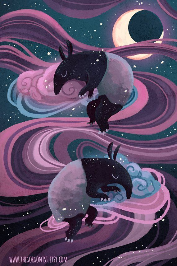 Dream Eater Nights Baku Mythological Beast 8x12 Inch Art Print Etsy Dream Eater Japanese Folklore Strange Beasts