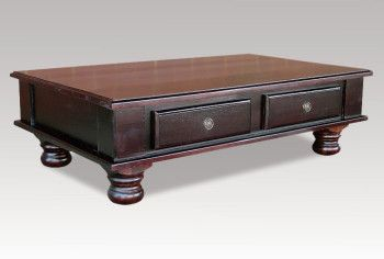 A coffee table with lots of space. This table will definitely fit with many different decorating styles