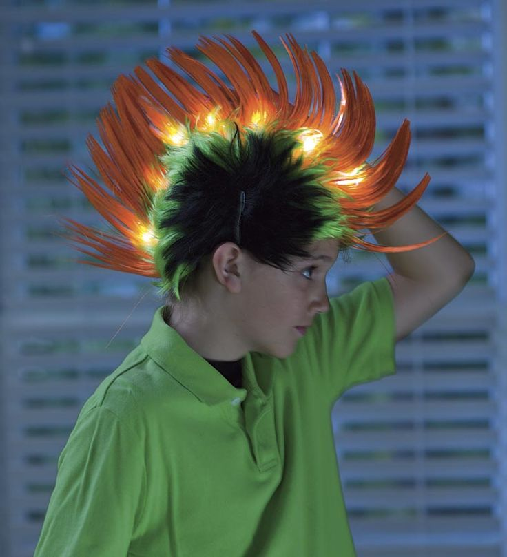 Light Up Crazy Hair Faux Hawk Halloween Fun For Kids