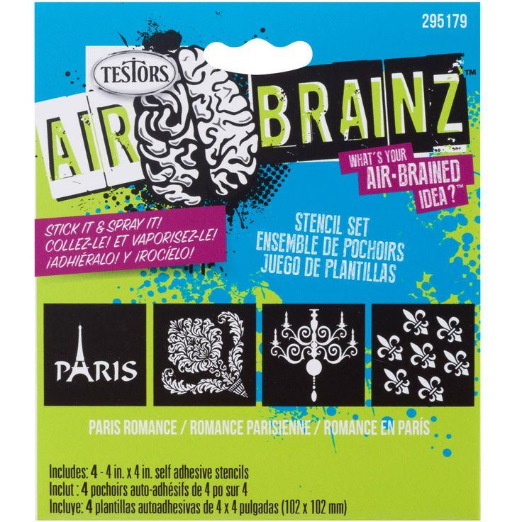 """NEW! AirBrainz Airbrush Stencils 4/Pkg-Paris Romance 4""""""""X4"""""""""""