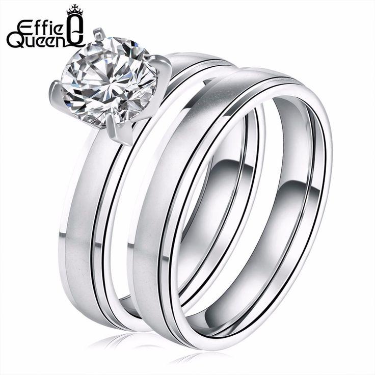 Effie queen thép không gỉ luxury nhẫn đối với phụ nữ brilliant cut cubic zircon engagement cưới nhẫn ir20