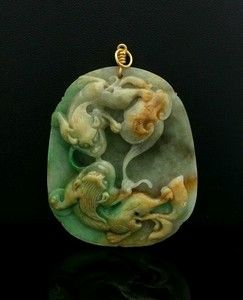Carved Natural Multicolor Jadeite Jade Pendant 18K Gold Bail