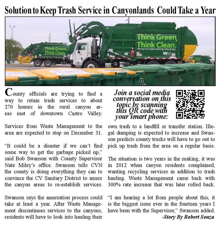 Solution to Keep Trash Service in Canyonlands Could Take a Year - County officials are trying to find a way to retain trash services to about 270 homes in the rural canyon areas east of downtown Castro Valley. Services from Waste Management to the area are expected to stop on December 31.