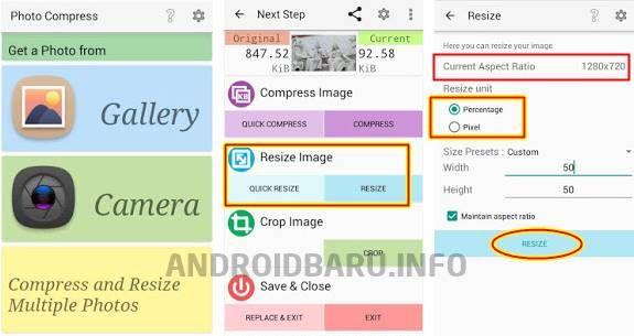Cara Memperkecil Ukuran Foto Di Android Dimensi File Trik Android Android Pengukur