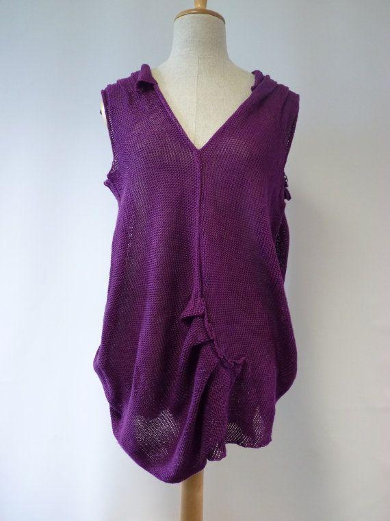 Amazing deep purple linen top XL size. by ZUZABARTSHOP on Etsy